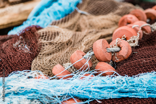 Fotografiet Detail of some fishing nets deposited in a port in Galicia (Spain)