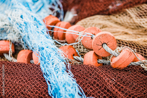 Canvastavla Detail of some fishing nets deposited in a port in Galicia (Spain)
