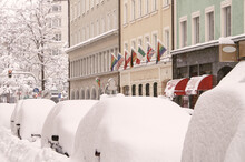 Street In Munich Day After Massive Snowfall, All Cars Covered In Snow