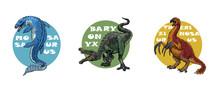 Set Of 3 Dinosaurs Logos. Mosa...
