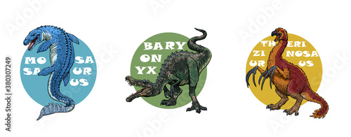 Fototapeta Set of 3 dinosaurs logos