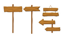 Wooden Arrow Signs And Boards As Rustic Destination Pointing And Advertisement Vector Set
