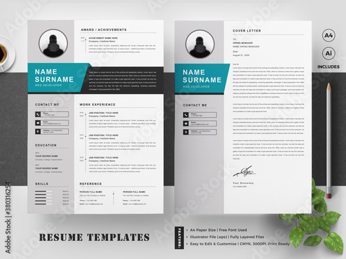 Resume / CV Template with Cover Letter Canvas