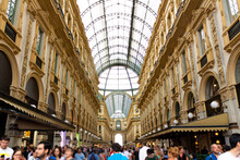 Vittorio Emanuele II Gallery Crowded With People, Unrecognizable Peopl.