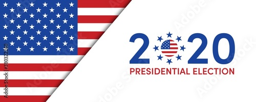 Fototapeta US Presidential Election. USA election banner with US symbols and colors. Patriotic stars. Vote. United States of America Election design. obraz