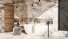 Luxurious Bathroom Finished With Marble And Wood, Free-standing Bathtub