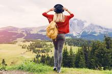 Woman  Blonde Traveler Hipster...