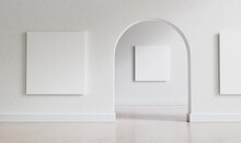 Big, Empty Interior With Large Mock-up Canvases And Circular Arc Entrance To Another Space. Minimalistic Style With Full Of Empty Space. Shallow Depth Of Field. 3D Render Illustration.