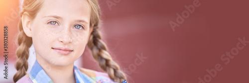 Fototapeta Beautiful american portrait of schoolgirl