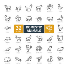 Domestic Animals Icons Pack. T...