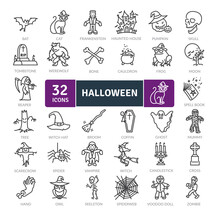 Halloween Icons Pack. Thin Lin...