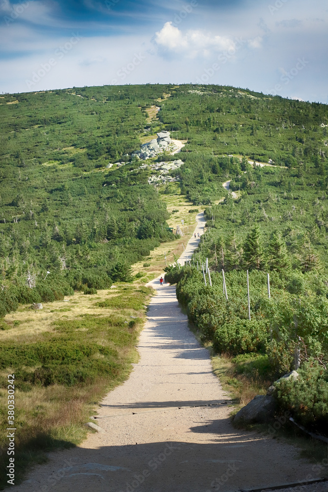 Tourist trail in the Giant Mountains. Hiking trail on the border between Poland and the Czech Republic.