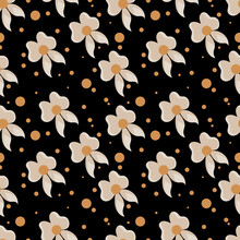 Whimsical Brownish Flowers And Orange Spots On A Black Background Seamless Pattern