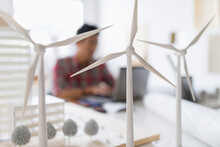 Wind Turbine Models On Desk, A...