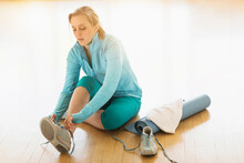 Woman Getting Ready For Exercise