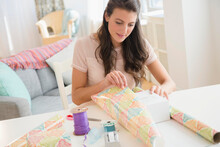 Woman Wrapping Present