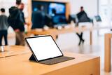 Fototapeta Kawa jest smaczna - Modern device with blank screen in store