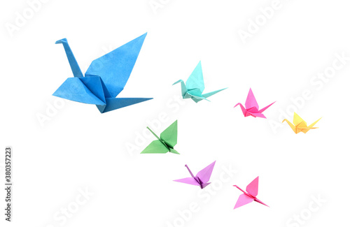 Origami birds flying on white background Canvas Print