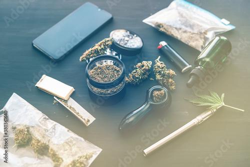 CBD and THC Cannabis legalisation. Marijuana smoking pipe Canvas Print