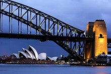 Cityscape View Of Bridge And Opera House