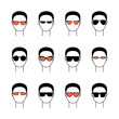 Set with vector icons illustrating men in sunglasses. Art сan be used as logo for glasses store.