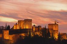 Illuminated Castle At Dusk, Pa...