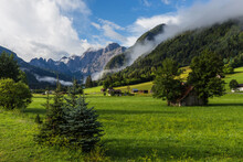 Jof Fuart Peak From Valbruna Town. Julien Alps, Italy