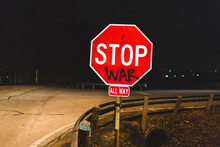 """Someone Spray Painted On Traffic Sign And Now It Says """"""""Stop War"""""""""""