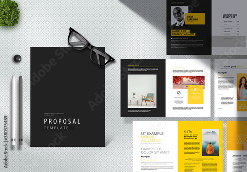 Minimal Creative Proposal Layout with Yellow and Black Accents