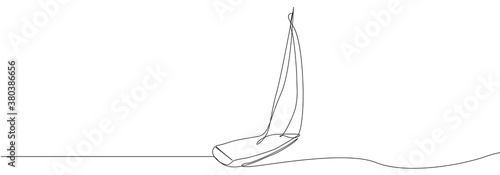 Cuadros en Lienzo Continuous line drawing of sailing boat