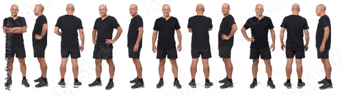 Fotografie, Obraz large group of a same man wearing sports shirt and shorts, various poses on whit