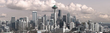 Seatle Skyline Panoramic Photo With Space Needle In The Center