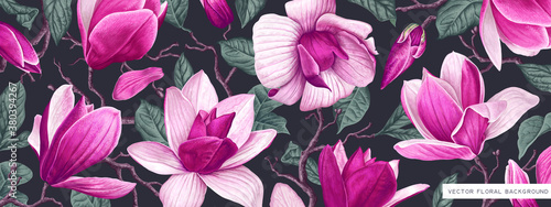 Fototapeta Large banner for social media, covers for personal blogs, discount poster template for offline, online stores. Pink magnolia branches leaves on a dark background. Highly realistic style spring flowers obraz
