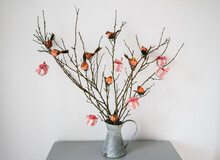 Branches Decorated With Little Feathered Robins And Christmas Parcels