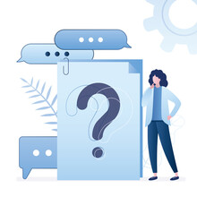 Question Mark On Document. Businesswoman Or Client Asking Questions Around Huge Question Mark On Paper Sheets. Online Chat,