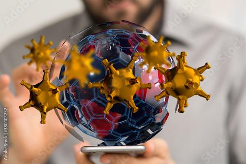 Fototapeta COVID-19 Business Finance Crisis Concept. Coronavirus Danger Pandemic. Global stress of world . obraz