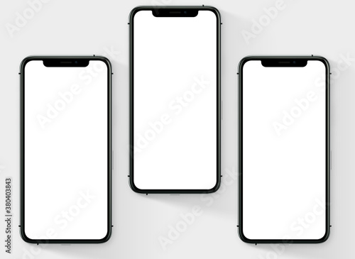 3d render illustration hand holding the white smartphone with full screen and mo Slika na platnu