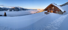 Snow Covered Mountain Hut Old ...