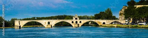 Fotomural Avignon, France - 6/4/2015:  Pont d'Avignon, Ruins of famous medieval bridge, wi