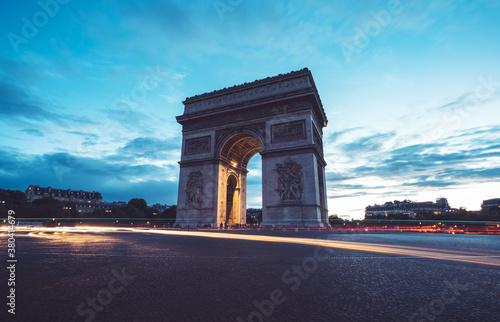 Fotomural Arc de Triumph at evening, Paris, France