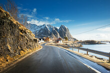 Road With Snow Mountains And F...