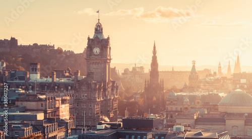 Fototapeta Edinburgh city skyline from Calton Hill., United Kingdom