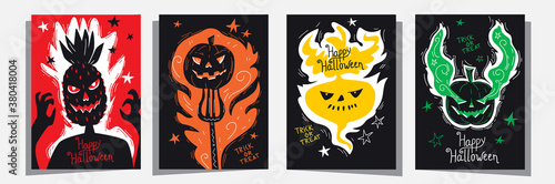 Happy Halloween Jack o lantern invitation greetings cards set with head of pineapple, traditional pumpkin and turnip Canvas