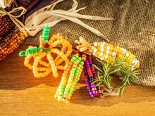 Indian Corn And Pumpkins Made From Pony Beads