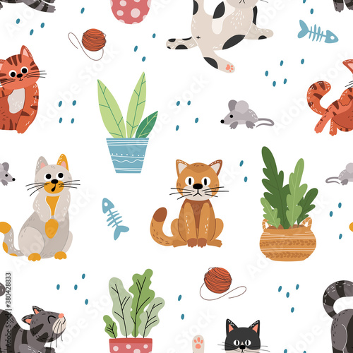 Cute cats flat vector seamless pattern on white background. Texture of cartoon pets in scandinavian hand drawn style. Vector wallpaper for children's books, print, poster, fabric, stickers.
