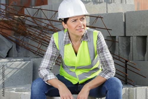 Fototapeta engineer builder woman in uniform outdoors obraz