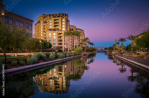 Artistic sunset image of Az, Canal in downtown Scottsdale, AZ,USA