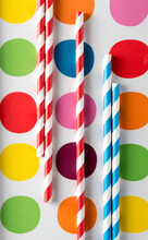 Striped Straws On Polka Dots
