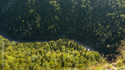 Fototapeta Summer view from the top of the Pieniny mountains to the river Dunajec gorge, Poland obraz