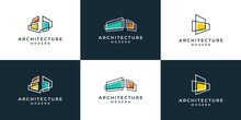 Set Of Building Architecture With Line Art Style Logo Design Inspiration.